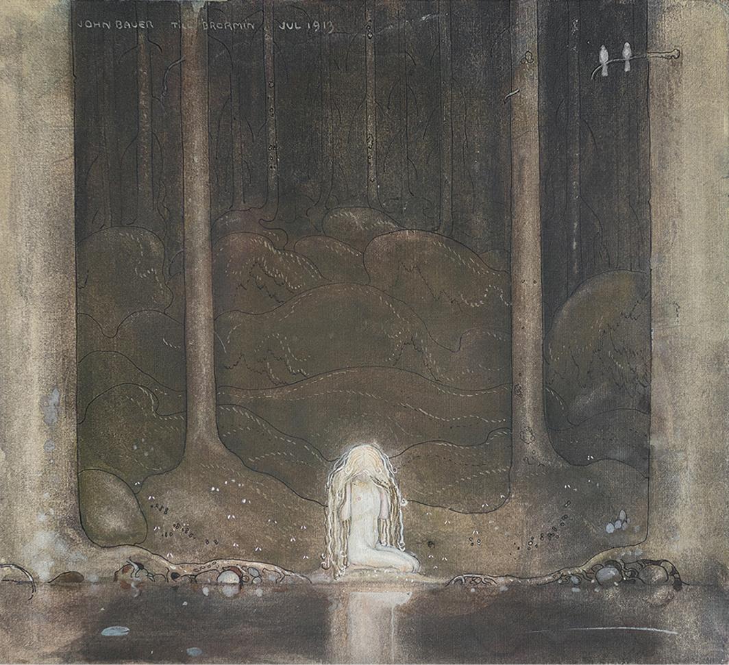 "John Bauer, Ännu sitter Tuvstarr och ser undrande ner i vattnet (Princess Tuvstarr Gazing Down Into the Dark Waters of the Forest Tarn), 1913, watercolor, gouache, and ink on paper. 9 7/8 × 10 5/8""."