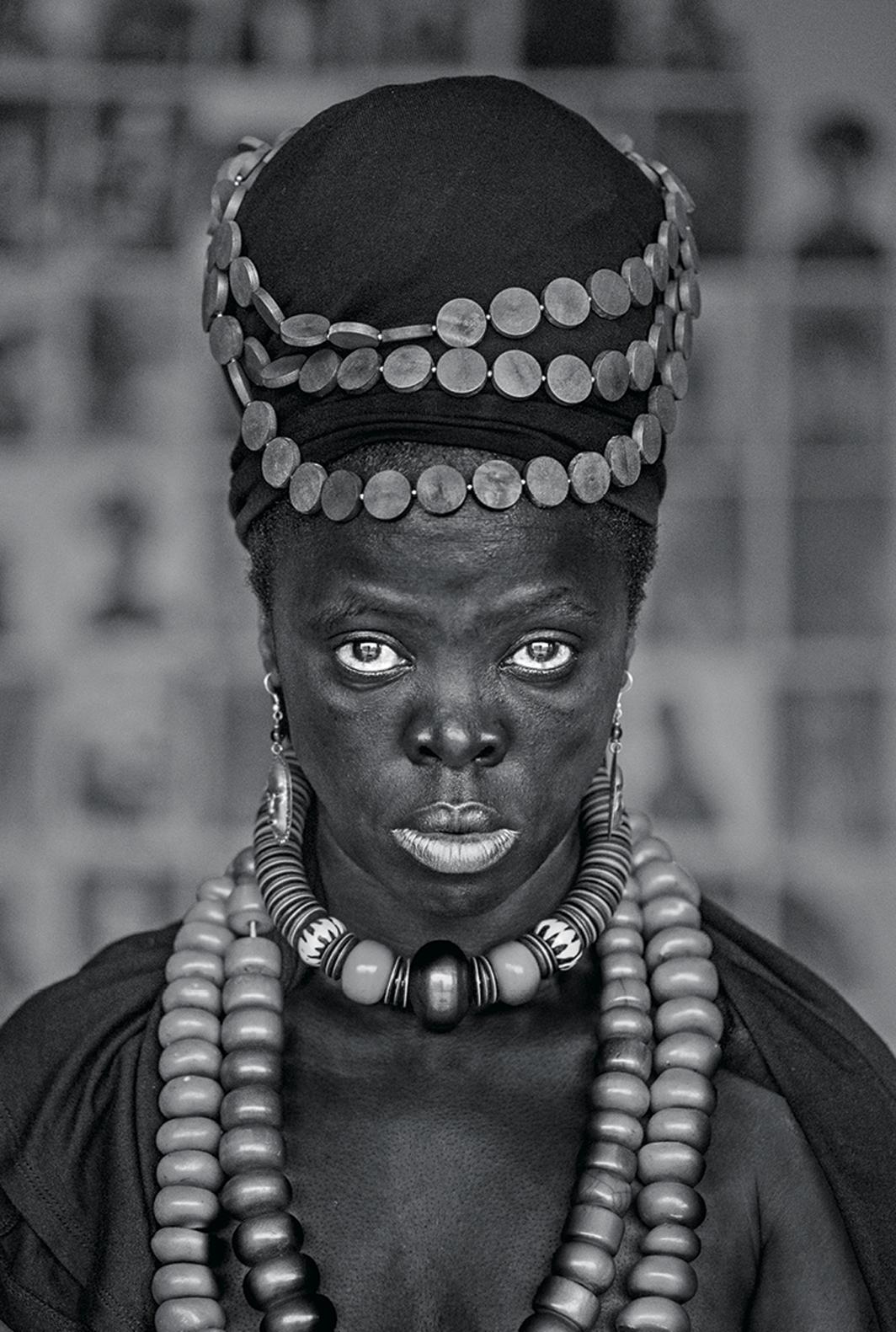 "Zanele Muholi, Bangizwenkosi, The Sails, Durban, 2019, gelatin silver print, 23 5/8 × 15 3/4"". From the series ""Somnyama Ngonyama"" (Hail the Dark Lioness), 2012–."