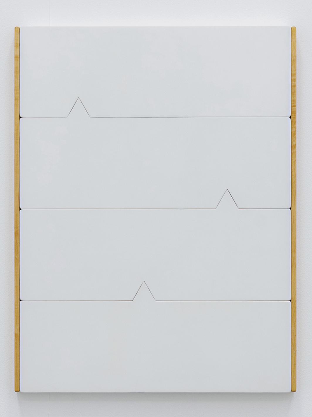 """Fahd Burki, Affinity, 2020, wood, acrylic gesso, 29 3/4 × 22 7/8""""."""