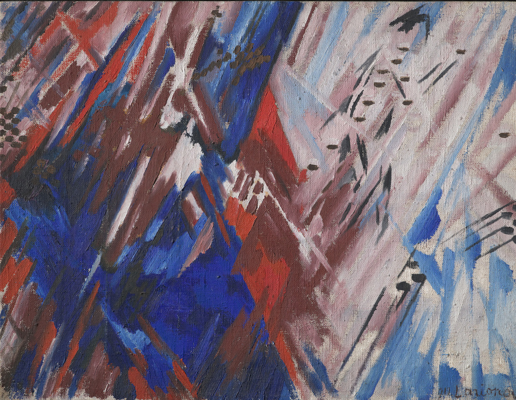 This work attributed to Mikhail Larionov Rayonism Red and Blue (Beach) (detail), 1913, is one of many Russian avant-garde paintings in the Lugwig Collection currently under forensic examination.