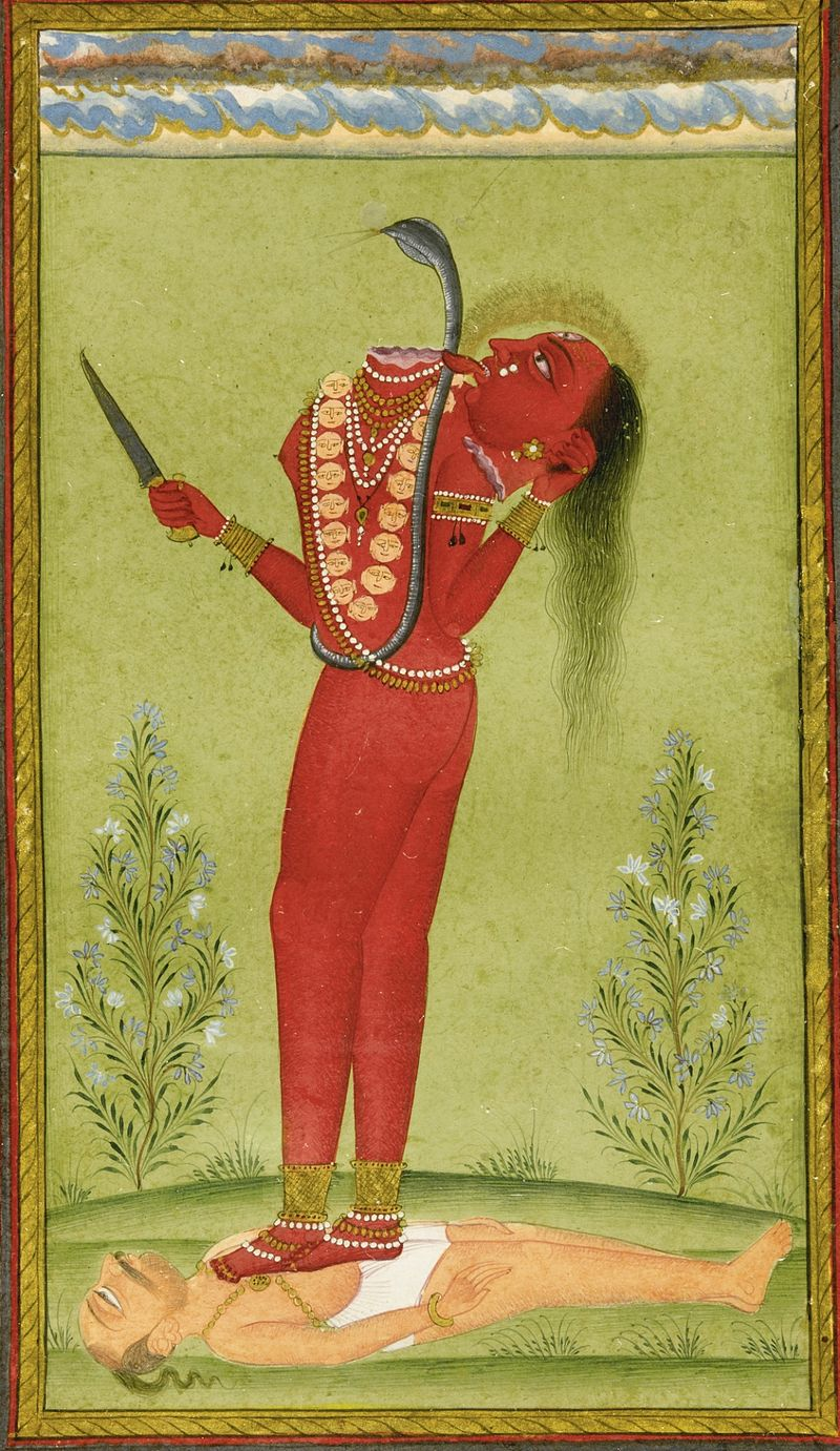 A Pahari painting depicting Chhinnamasta, c. 1750.