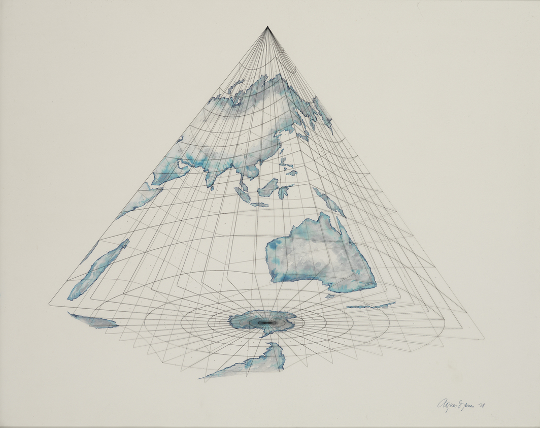 "Agnes Denes, Isometric Systems in Isotropic Space - Map Projections: The Pyramid (The World from Below), 1978, gouache, metallic ink on vellum and Mylar, 24 x 30""."