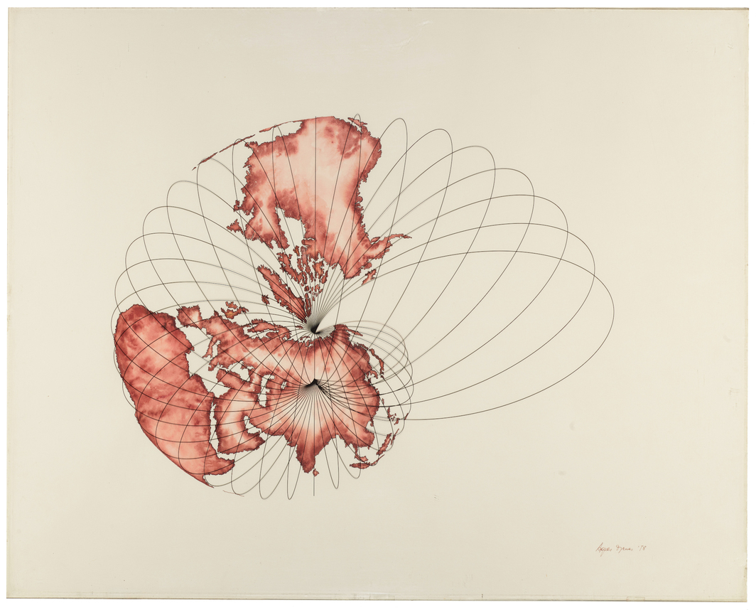 "Agnes Denes, Isometric Systems in Isotropic Space - Map Projections: The Snail, 1978, ink on rag paper with printed Mylar overlay, 24 x 30""."