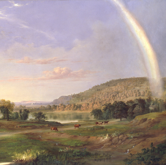 "Robert S. Duncanson, Landscape with Rainbow, 1859, oil on canvas, 30 × 52""."