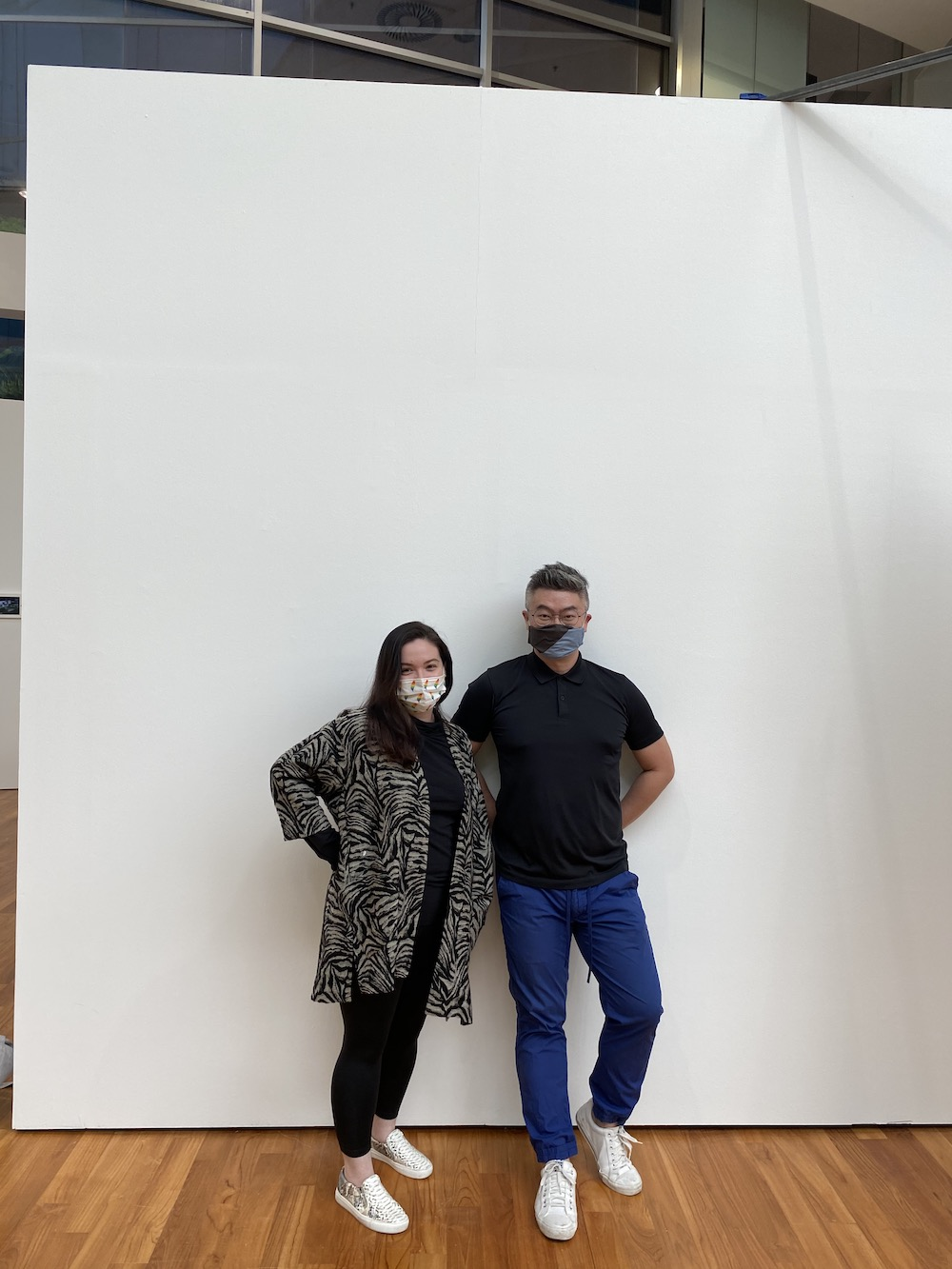 Curator and art historian Kathleen Ditzig with artist Heman Chong.