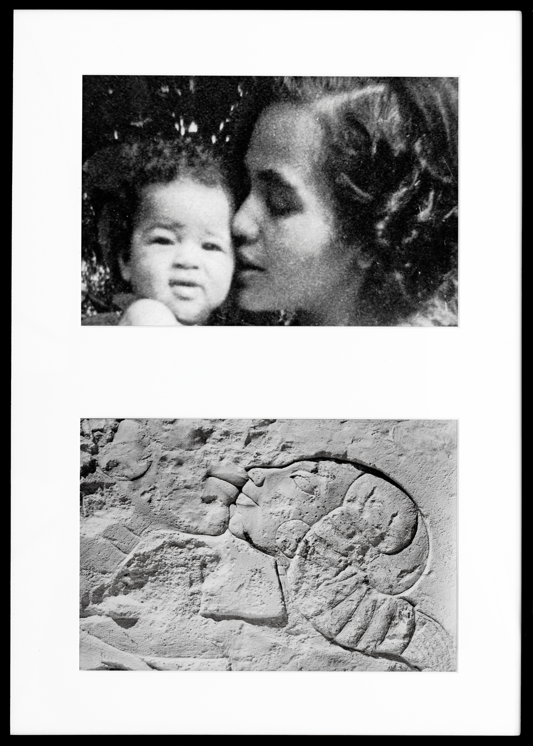 "Lorraine O'Grady, Miscegenated Family Album (A Mother's Kiss), T: Candace and Devonian; B: Nefertiti and daughter, 1980/1994, diptych, Cibachrome prints, overall 37 × 26"". From Miscegenated Family Album, 1980/1994. © Lorraine O'Grady/Artists Rights Society (ARS), New York."