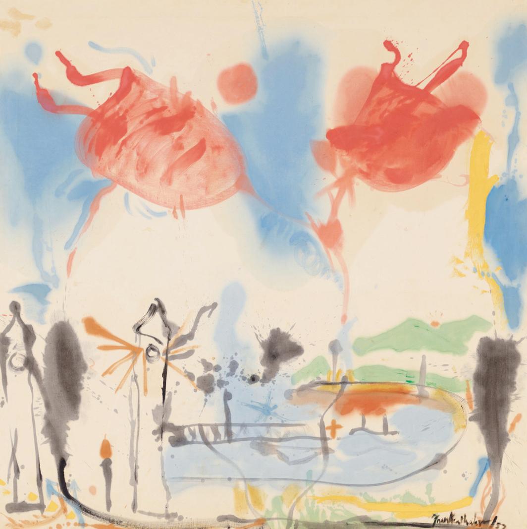 "Helen Frankenthaler, Round Trip, 1957, oil on canvas, 70 1⁄4 × 70 1⁄4"". © Helen Frankenthaler Foundation Inc./Artists Rights Society (ARS), New York."