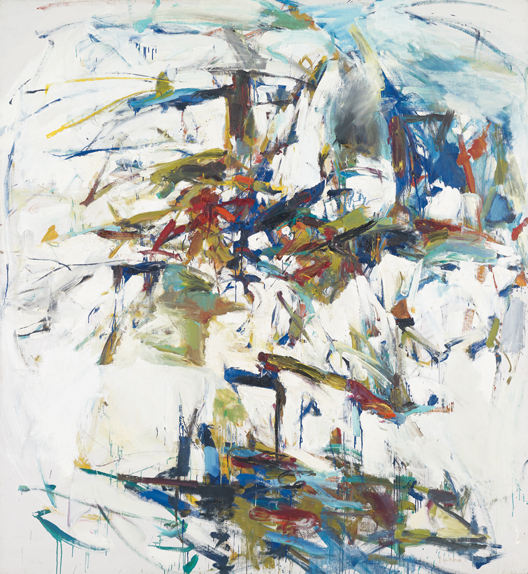 """Joan Mitchell, George Went Swimming at Barnes Hole, but It Got Too Cold, 1957, oil on canvas, 87 3⁄4 × 78 1⁄4"""". © Estate of Joan Mitchell."""