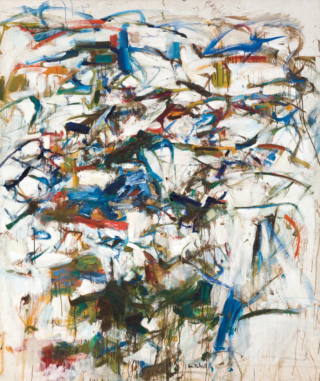 "Joan Mitchell, August, Rue Daguerre, ca. 1956, oil on canvas, 82 1⁄8 × 69"". © Estate of Joan Mitchell."