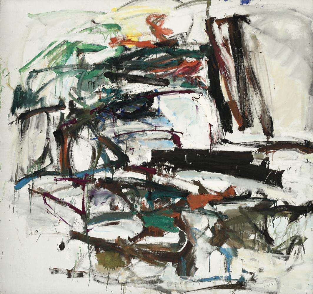 """Joan Mitchell, Cercando un ago, ca. 1959, oil on canvas, 63 × 67"""". © Estate of Joan Mitchell."""