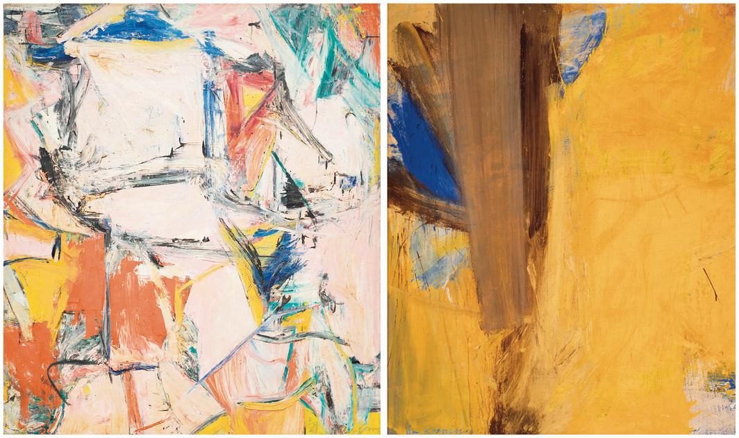 "From left: Willem de Kooning, Interchanged, 1955, oil on canvas, 79 × 69"". © The Willem de Kooning Foundation/Artists Rights Society (ARS), New York. Willem de Kooning, Montauk Highway, 1958, oil and mixed media on paper mounted on canvas, 58 × 48"". © The Willem de Kooning Foundation/Artists Rights Society (ARS), New York."