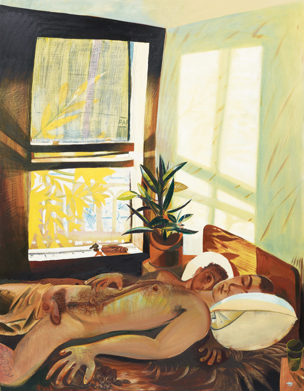 "Louis Fratino, Waking up first, hard morning light, 2020, oil on canvas, 90 × 70""."