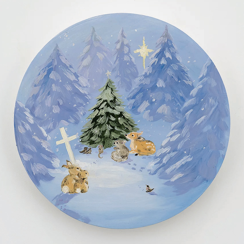 "Karen Kilimnik, Christmas service for the forest pets, 2008, oil on canvas, 16 × 16""."