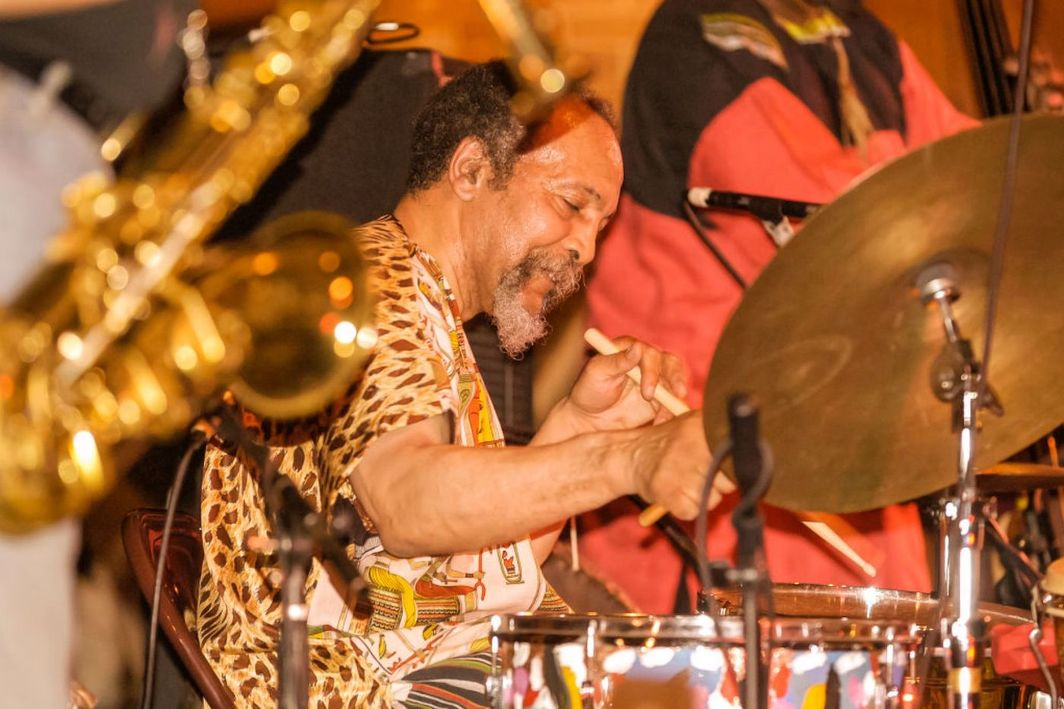 Milford Graves plays at the 9th annual Vision Festival Avant Jazz for Peace at the Center at St Patrick's Youth Center, New York, New York, May 29, 2004. Photo: Jack Vartoogian/Getty Images.