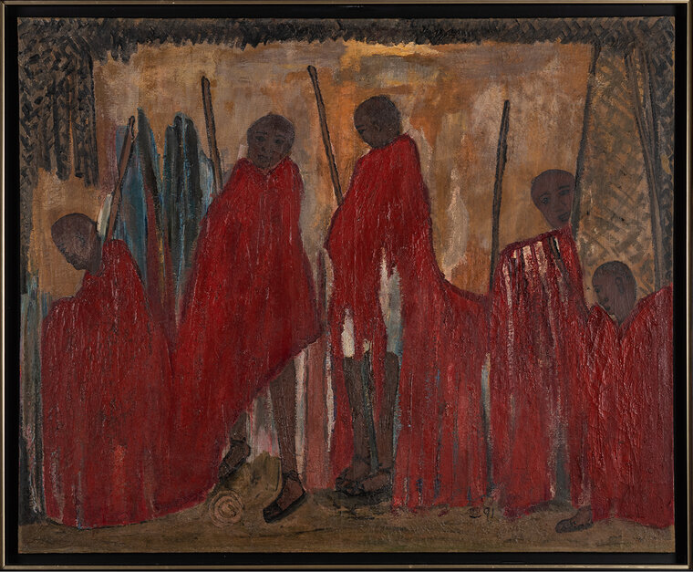 """Chen Cheng Mei, Kenyan Chieftains, 1991, oil on canvas. 36 x 44""""."""