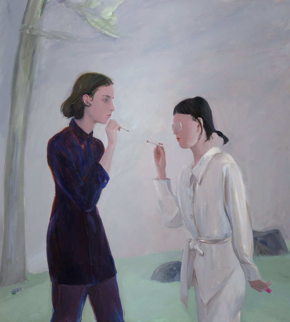 "Xinyi Cheng, For A Light II, 2020, oil on canvas, 57 x 63""."