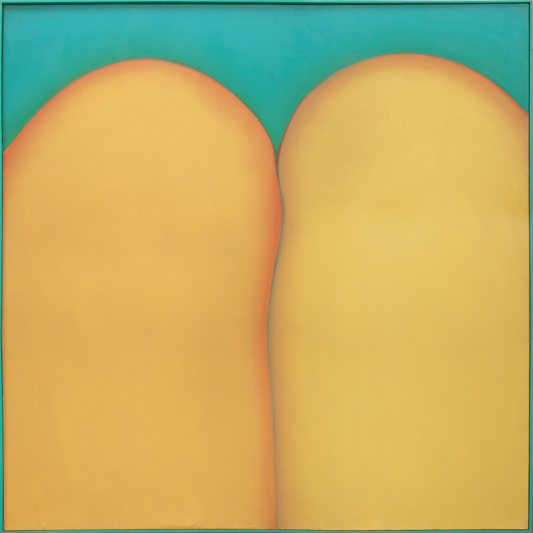 "Huguette Caland, Bribes de corps (Body Parts), 1973, oil on linen, 59 7/8 x 59 7/8"". From the series ""Bribes de corps"" (Body Parts), 1973–81."