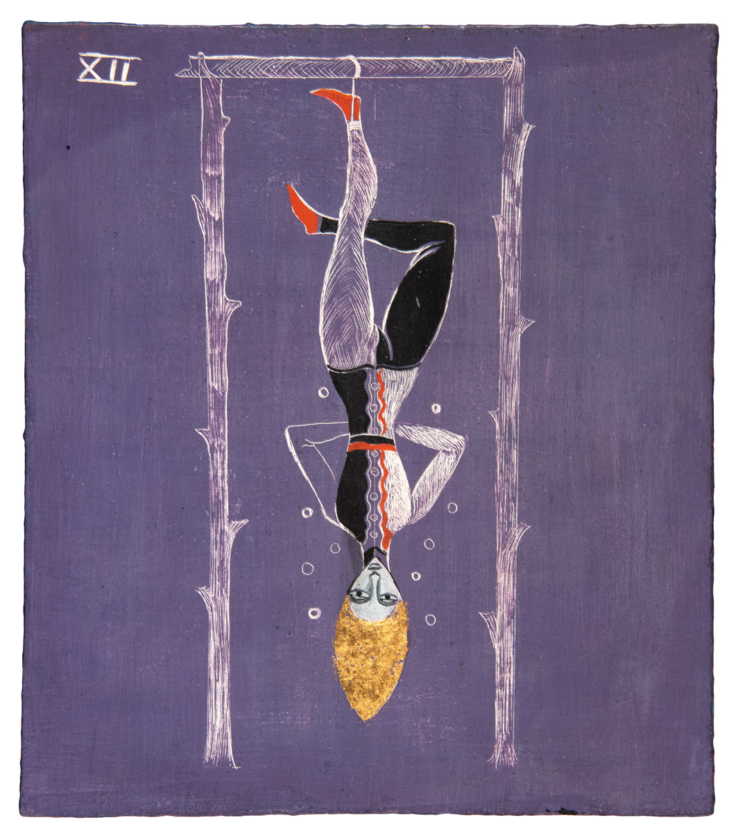 Leonora Carrington, The Hanged Man, ca. 1955, oil and gold leaf on board, 6 1⁄4 × 5 1⁄2