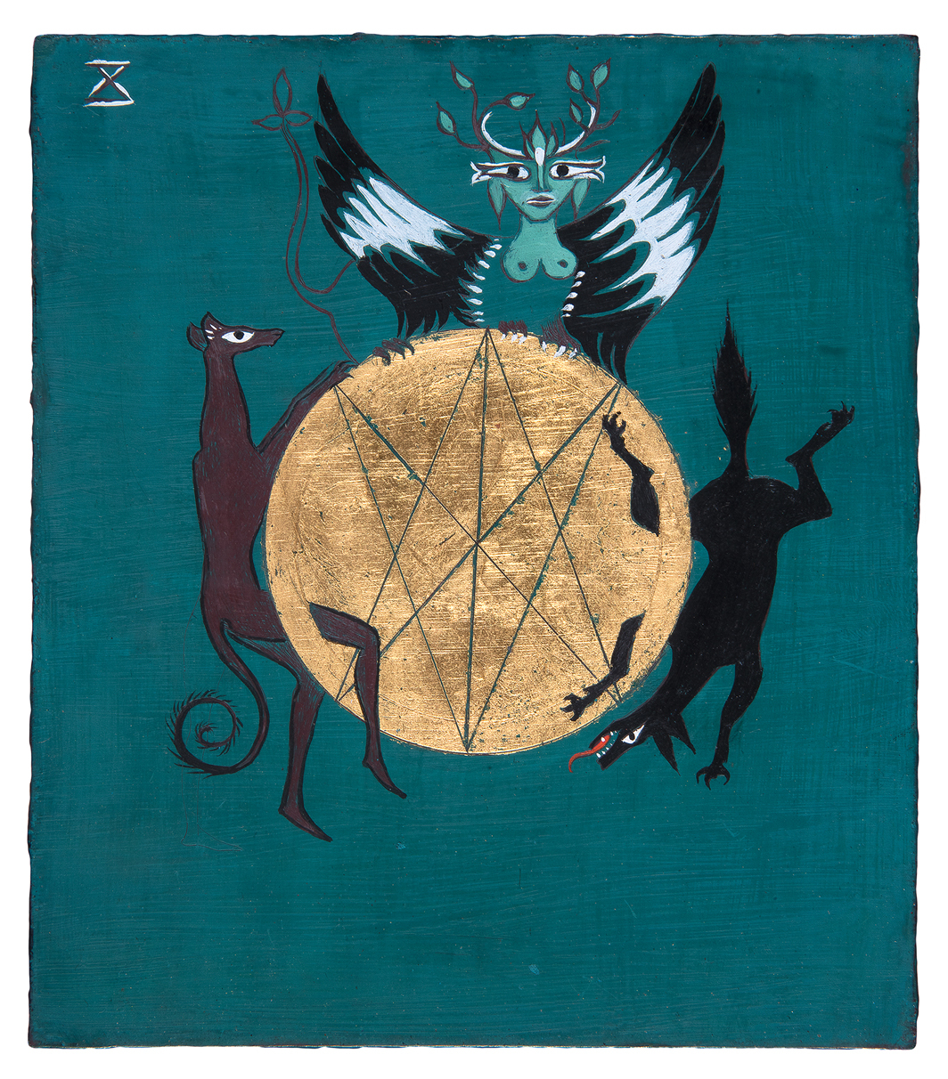 Leonora Carrington, Wheel of Fortune, ca. 1955, oil and gold leaf on board, 6 1⁄4 × 5 1⁄2