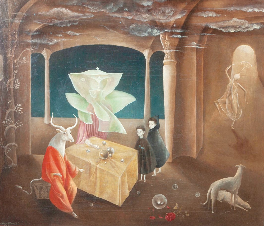 "Leonora Carrington, And Then We Saw the Daughter of the Minotaur, 1953, oil on canvas, 23 5⁄8 × 27 1⁄2"". © Estate of Leonora Carrington/Artists Rights Society (ARS), New York."