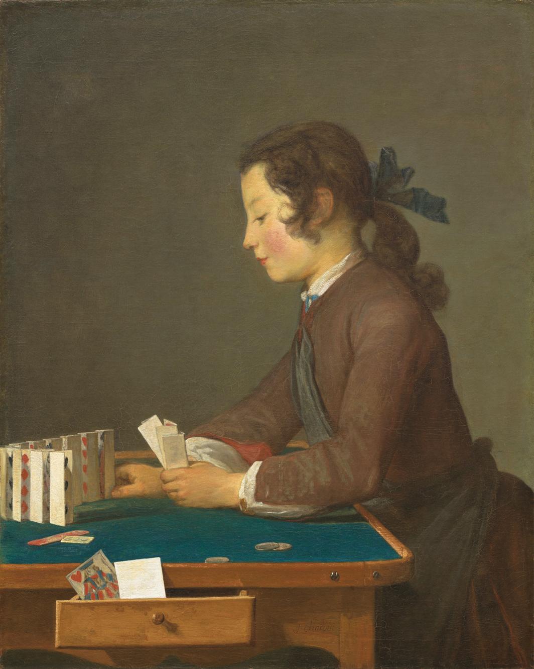 Jean-Baptiste-Siméon Chardin, Le château de cartes (The House of Cards), 1737, oil on canvas, 32 3⁄8 × 26