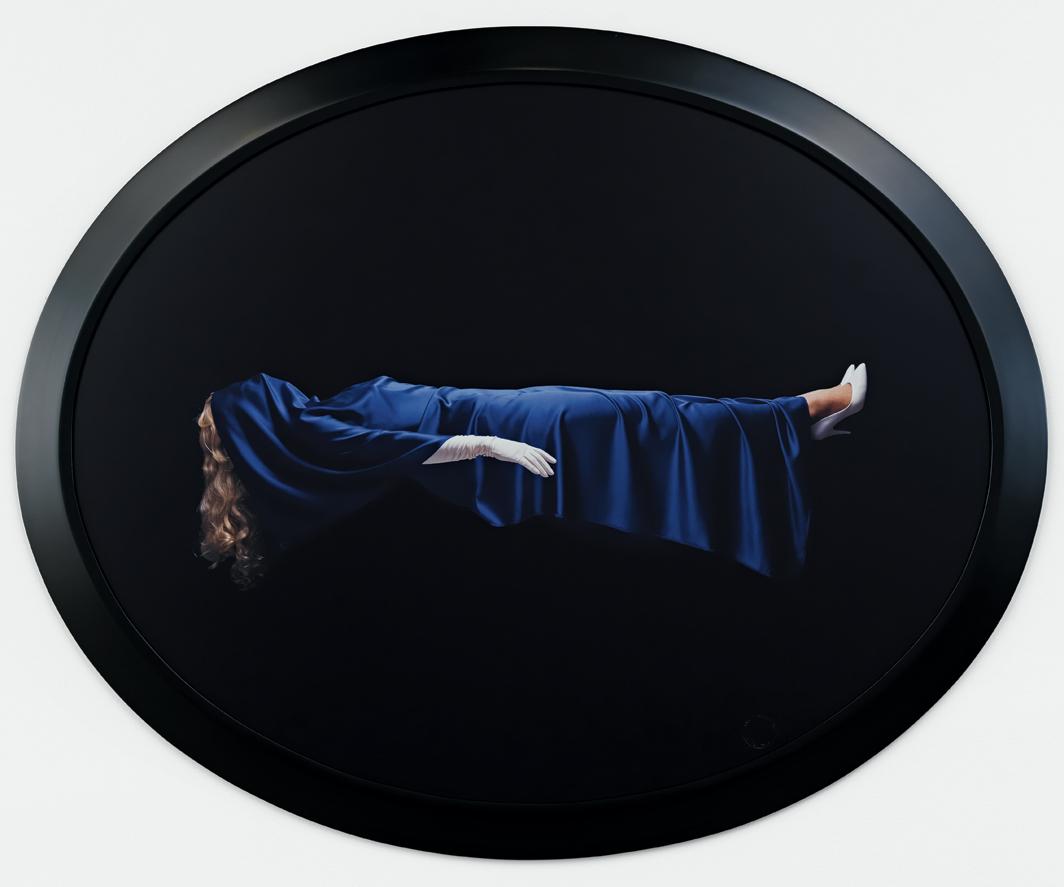 Sarah Charlesworth, Levitating Woman, 1992–93, Cibachrome, lacquered wood frame, 44 × 54 1⁄2