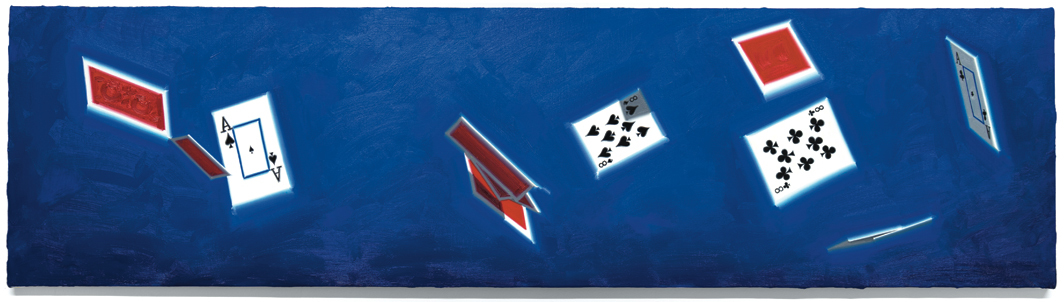 Luke O'Halloran, Cards in the air 06 (dead man's hand), 2020, oil on canvas, 17 × 64