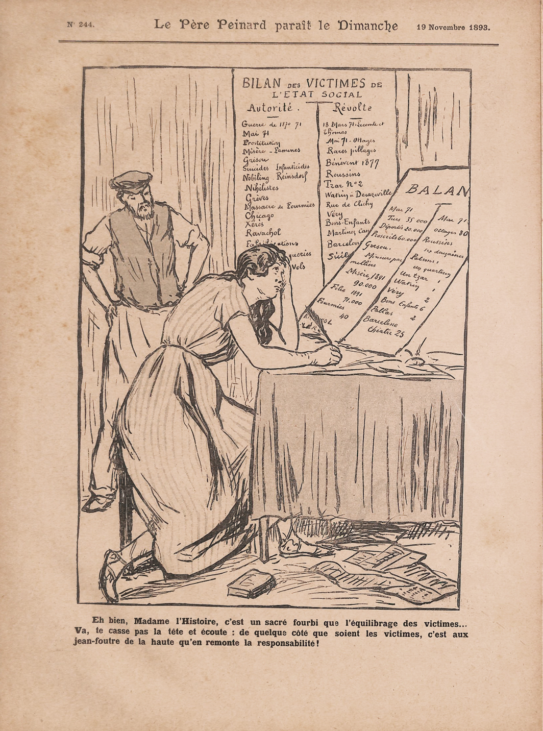 "Maximilien Luce, ""Bilan des victims de l'etat social"" (Balance Sheet of Victims of the Social State), 1893. From Le Père Peinard: Réflecs hebdomadaires d'un gniaff (Old Papa Workhorse: Weekly Reflections of a Cobbler), November 19, 1893."