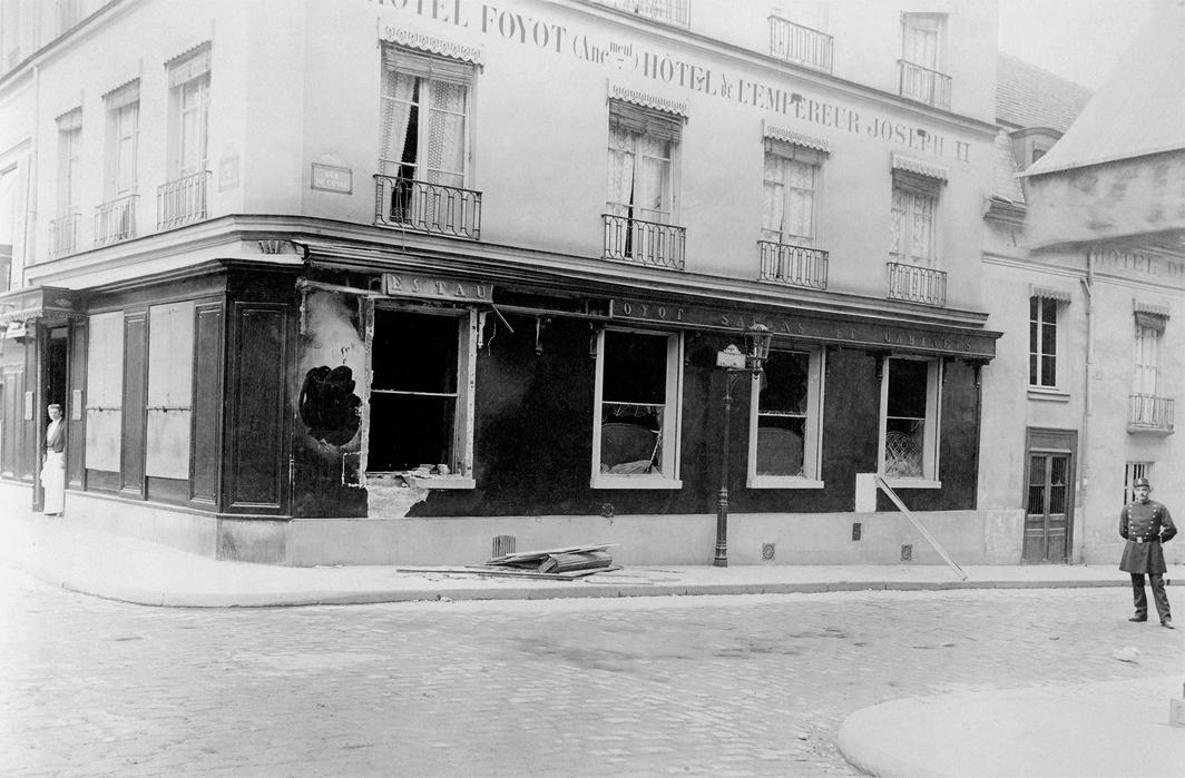 Police photograph of the bombed Restaurant Foyot, Paris, 1894. Photo: Alphonse Bertillon.