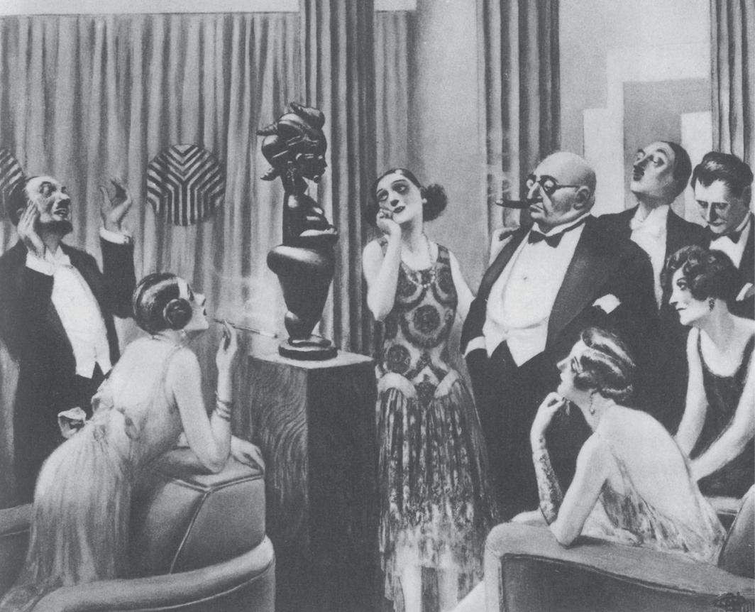 """Albert Guillaume, """"La maladie noire"""" (The Black Fever), caricature postcard, ca. 1923. Far left: Félix Fénéon. Second from right: Paul Guillaume."""