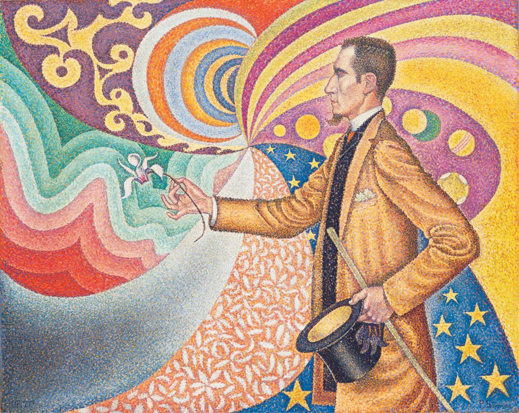 """Paul Signac, Opus 217. Sur l'émail d'un fond rythmique de mesures et d'angles, de tons et de teintes, portrait de M. Félix Fénéon en 1890 (Opus 217. Against the Enamel of a Background Rhythmic with Beats and Angles, Tones, and Tints, Portrait of M. Félix Fénéon in 1890), oil on canvas, 29 × 36 1⁄2""""."""