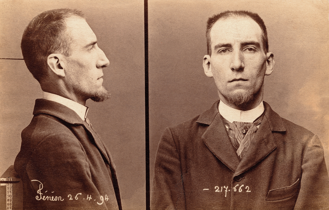 Mug shots of Félix Fénéon, April 26, 1894. Photos: Alphonse Bertillon.