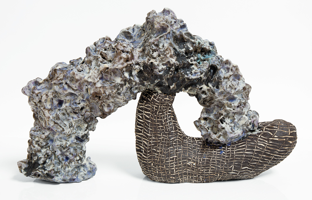 "Julia Haft-Candell, Woven Kick with Lavender and Slate, 2020, ceramic, 12 1⁄2 × 20 1⁄2 × 5 1⁄2""."