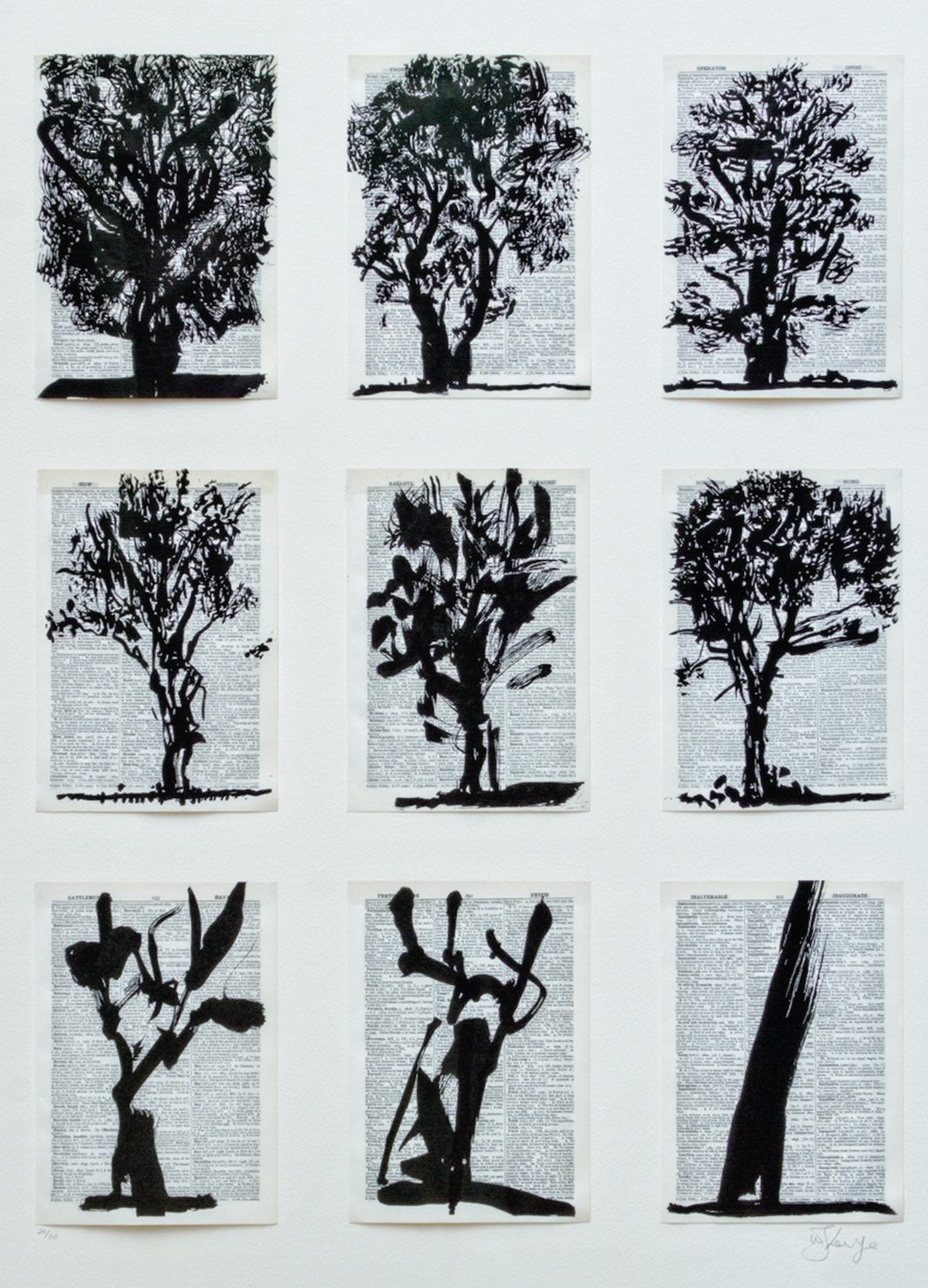"William Kentridge, Nine Trees, 2012, linocut on pages from Shorter Oxford English Dictionary, overall 42 1⁄2 × 33""."