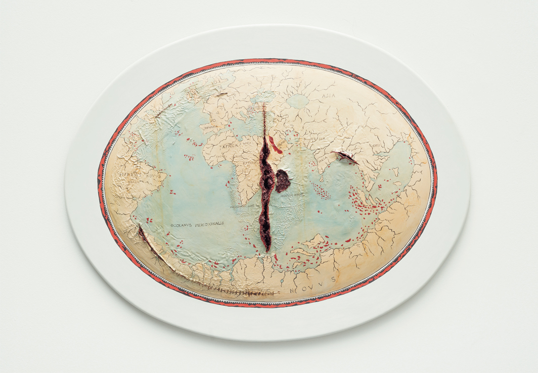 "Adriana Varejão, Mapa de Lopo Homem II (Map of Lopo Homem II), 2004, suture thread and oil on wood, 43 1⁄4 × 55 × 3 7⁄8""."