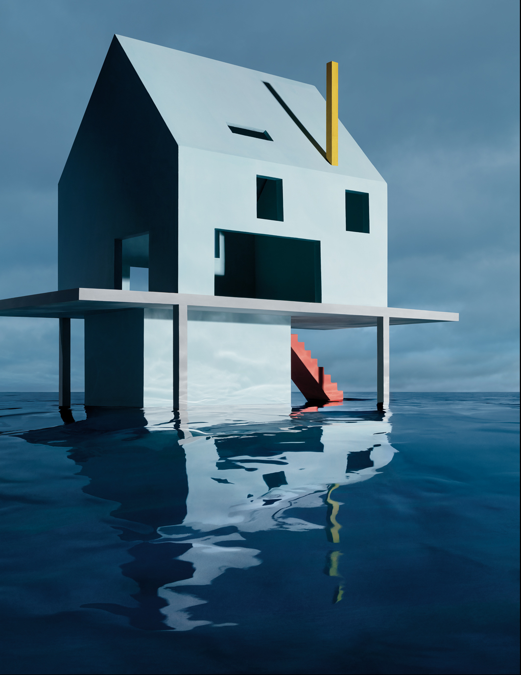 "James Casebere, Blue House on Water #2, 2019, ink-jet print, 69 1⁄2 × 48 7⁄8""."