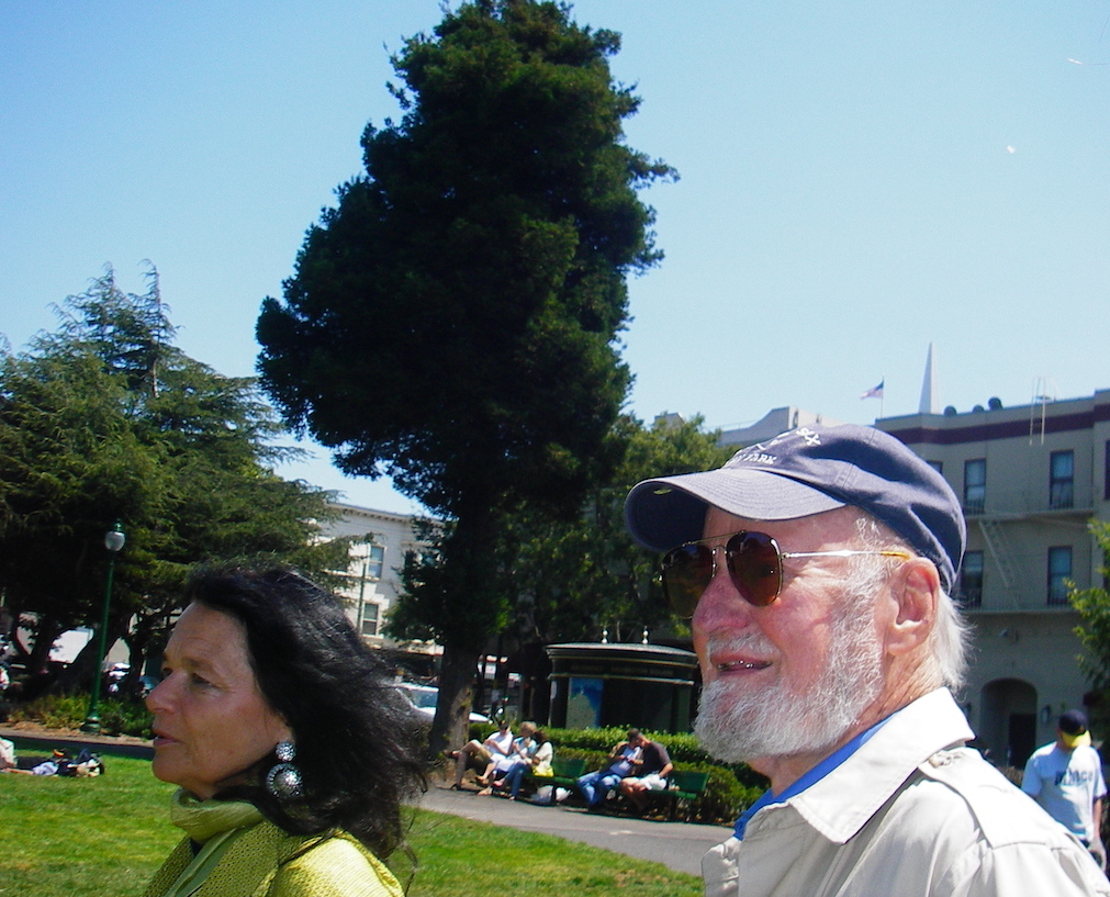 Lawrence Ferlinghetti with Anne Waldman at Washington Square in North Beach, 2006. Photo: Ambrose Bye.