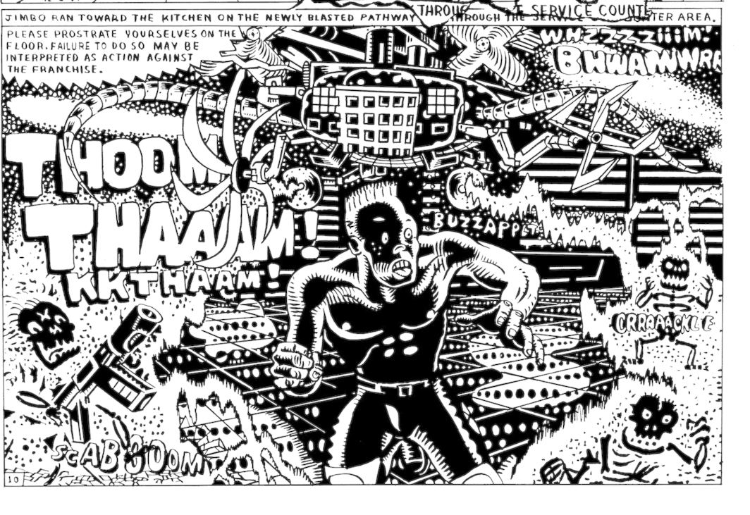 Page detail from Gary Panter's Jimbo: Adventures in Paradise, 1988 (New York Review Comics, 2021).