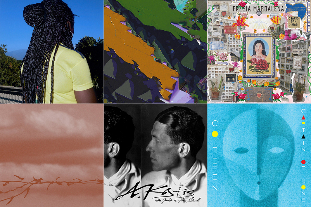 Covers, clockwise from left: Laminators Fofana's Blues (Black Studies, 2020); Glia & Matthewdavid's Gliamd (self-released, 2020); Sofia Kourtesis's Fresia Magdalena (Technicolour, 2021); Geneva Skeen's Double Blind (Touch Music/Fairwood Music, 2020); A. Kostis's The Jail's a Fine School (Olvido/Mississippi, 2015); Colleen's Captain of None (Thrill Jockey, 2015).