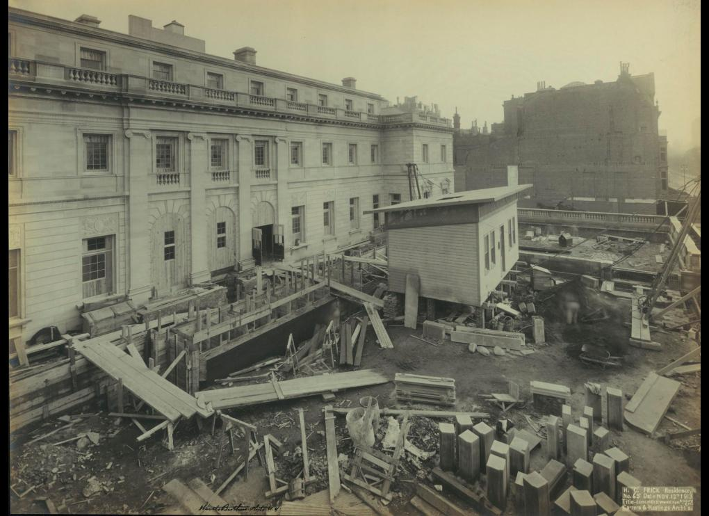 View of construction of the Henry Clay Frick Residence, One East Seventieth Street, looking south from the northwest corner, October 2, 1913. Photo: the Frick Collection.