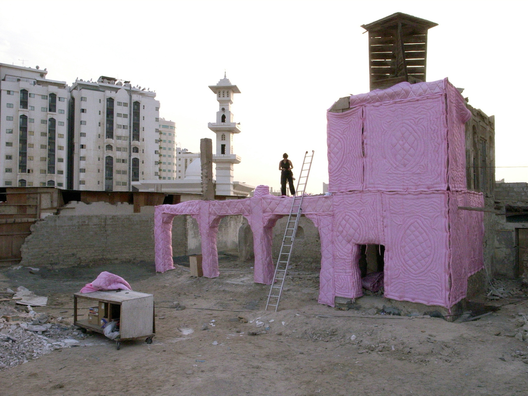 View of Amal Kenawy's Non-Stop Conversation, 2007. Sharjah Biennial 8, Sharjah Art Foundation, 2007.