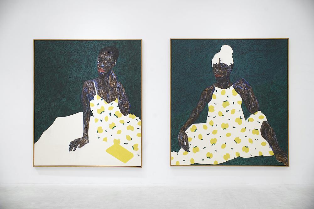 Amoako Boafo's White Blanket, 2021, and Lemon Sundress, 2020.
