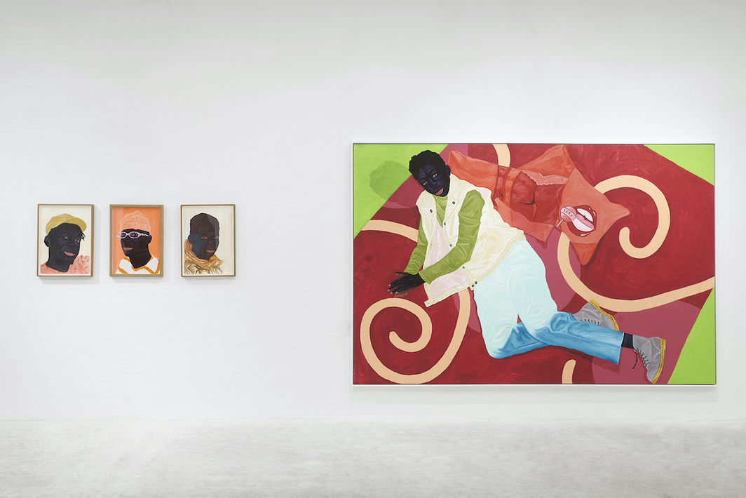 Paintings by Kwesi Botchway. Right: Fancy Pillows, 2021.
