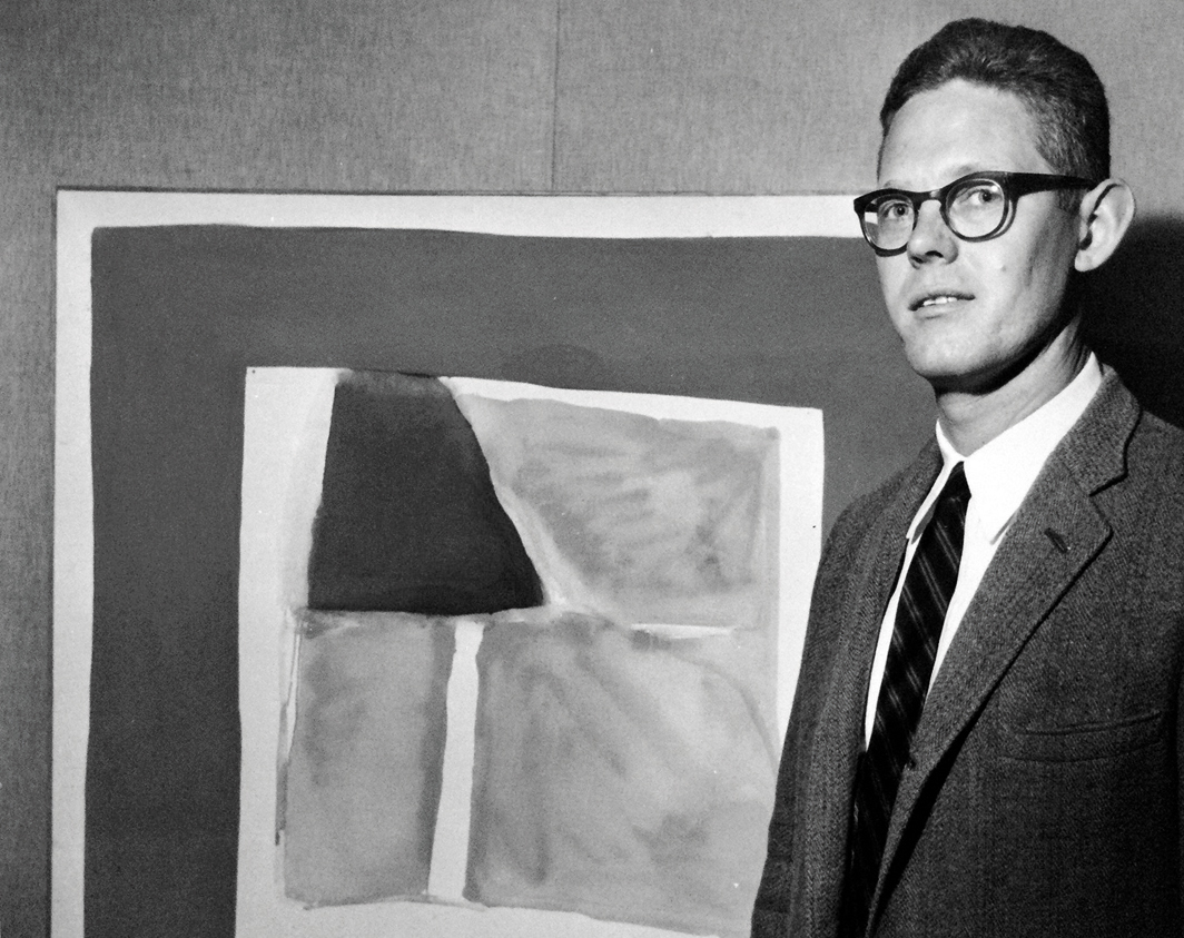 James Bishop with his painting Hours, ca. 1963, American Center for Art & Culture, Paris, 1963.