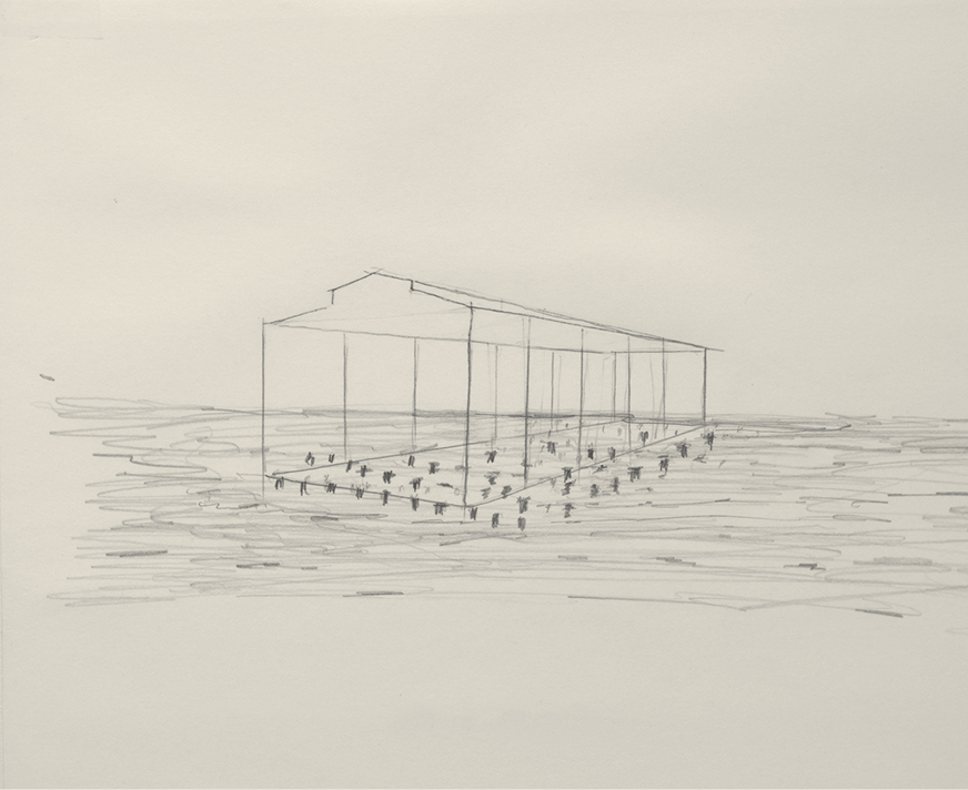 """David Hammons, Day's End, 2014, graphite on paper, 8 1⁄2 × 11""""."""