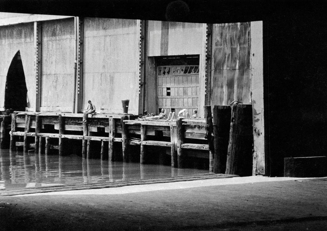 "Alvin Baltrop, Pier 52 (Gordon Matta-Clark's ""Day's End""), 1975–86, gelatin silver print, 4 1⁄2 × 6 1⁄2"". © Estate of Alvin Baltrop/Artists Rights Society (ARS), New York."