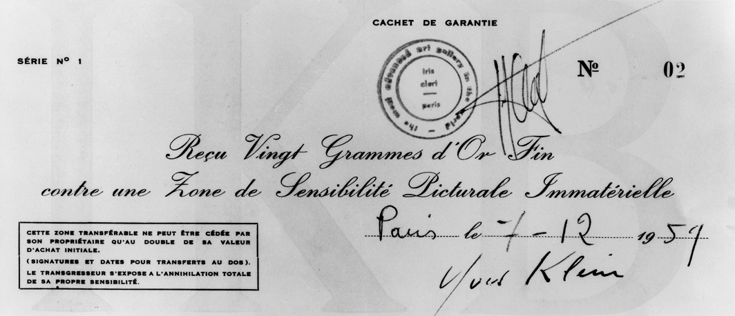 "Yves Klein, Reçu donné à Jacques Kugel pour la cession d'une Zone de sensibilité picturale immatérielle. Série n°1, Zone n°02, 7 décembre 1959 (Receipt to Jacques Kugel for transfer of a Zone of ​​Immaterial Pictorial Sensibility. Series n°1, Zone n°02, December 7th 1959), ink on printed paper, 31⁄2 × 7"". © Succession Yves Klein c/o Artists Rights Society (ARS), New York/ADAGP, Paris."