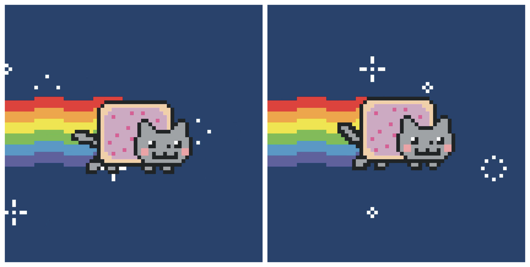 Two frames from Chris Torres's Nyan Cat, 2011, GIF.