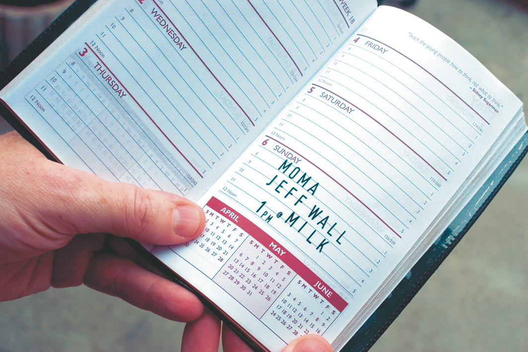 "Dave McKenzie, I'll Be There, 2007, hand-stamped day planner, closed, 6 1⁄4 × 3 3⁄4""."