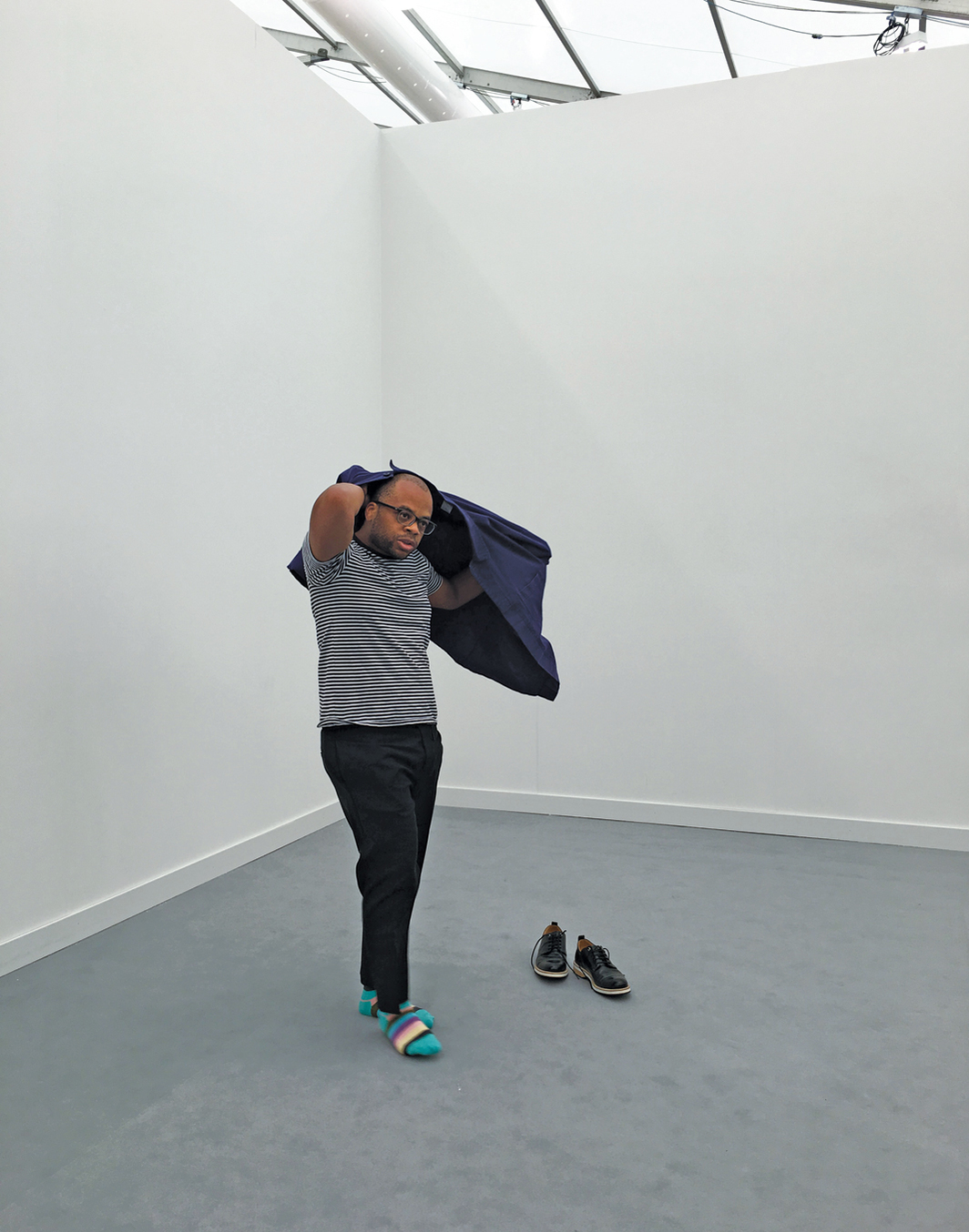 Dave McKenzie, Furtive Movements, 2018. Performance view, Frieze New York, May 6, 2018. Dave McKenzie.
